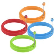 Silicone Egg Ring- Pancake Breakfast Sandwiches - Benedict Eggs - Omelets and More Nonstick Mold Ring Round (4-pack)