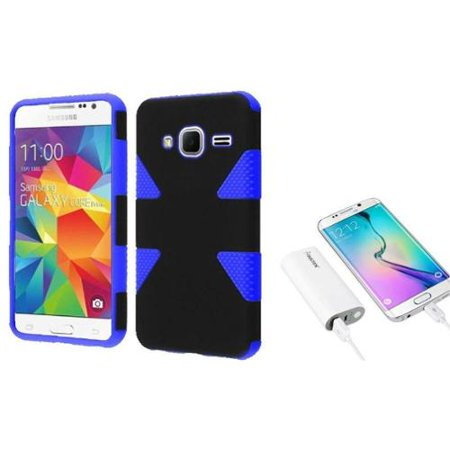 low priced df6b1 cb4fa Insten Hybrid Case For Samsung Galaxy Core Prime Prevail LTE - Black/Blue  (+ 5200mAh Universal Battery Charger)