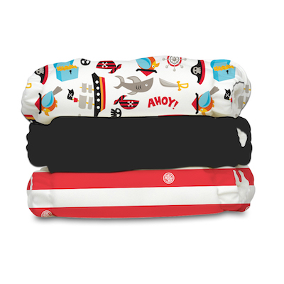 Charlie Banana 3 Diapers 6 Inserts Pirate One Size Hybrid AIO
