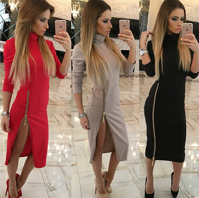 Mupoo Women Bandage Bodycon Dress Evening Cocktail Party Long Sleeve Zipper Sexy Dress