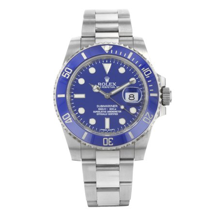 Pre-Owned Rolex Submariner 116619 Blue on Blue 18K White Gold Automatic Men's