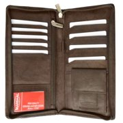 Zip Around genuine leather Travel Wallet with Passport and Boarding pass Holder 663CF