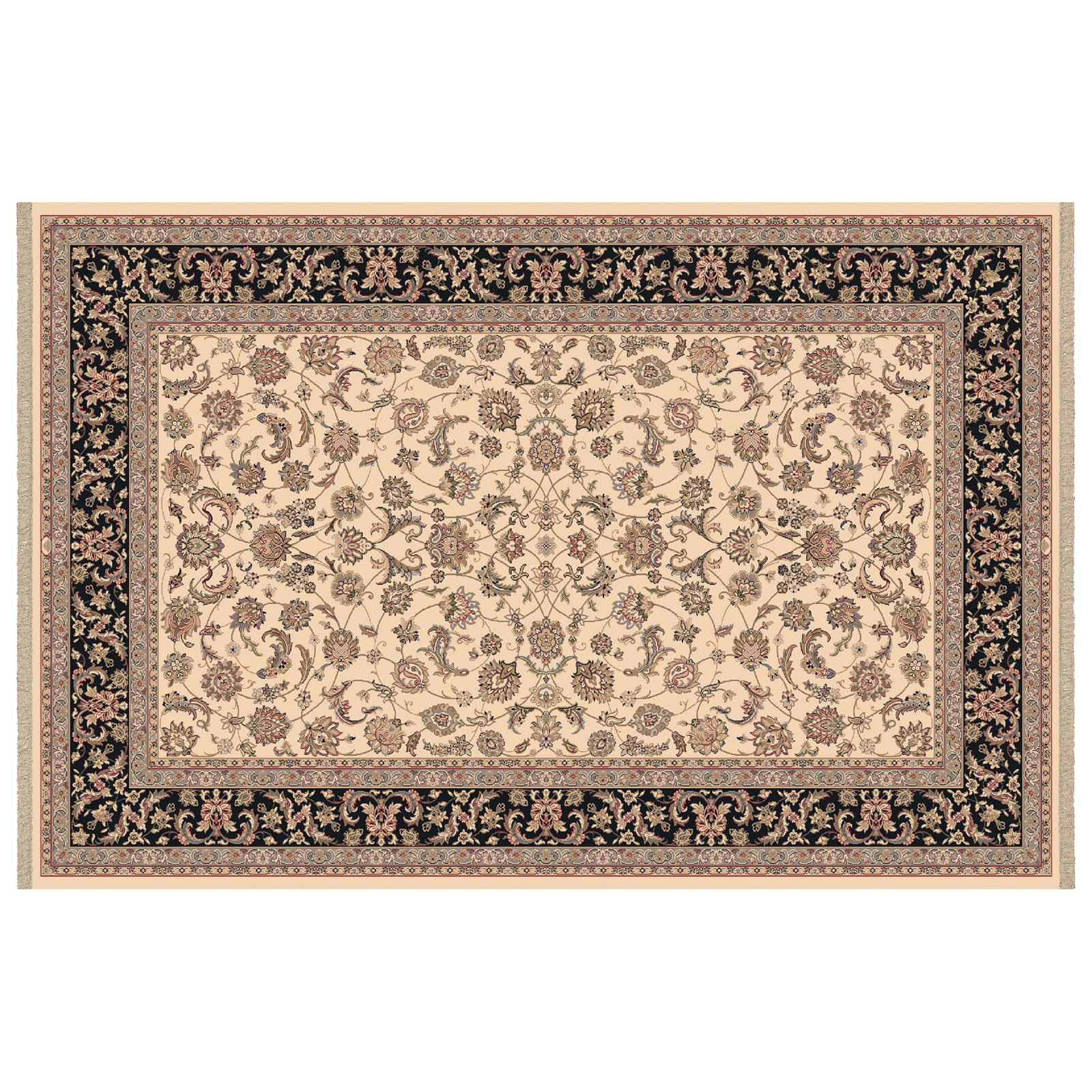 Dynamic Rugs Brilliant Collection Wool Hearth Rug-Ivory Frieze