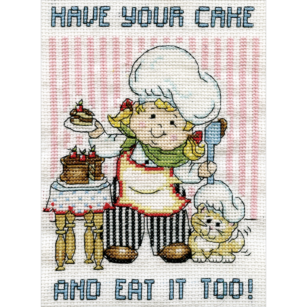 """Design Works Counted Cross Stitch Kit 5""""X7""""-Cake Chef Mini (14 Count)"""