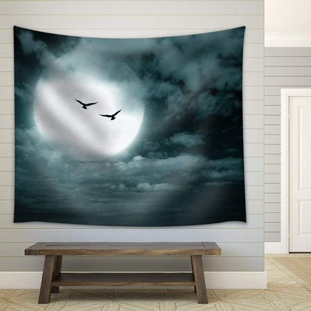 Halloween Tapestry (wall26 - Halloween Background, Full Moon and Sky, Dark Style. - Fabric Wall Tapestry Home Decor - 68x80)