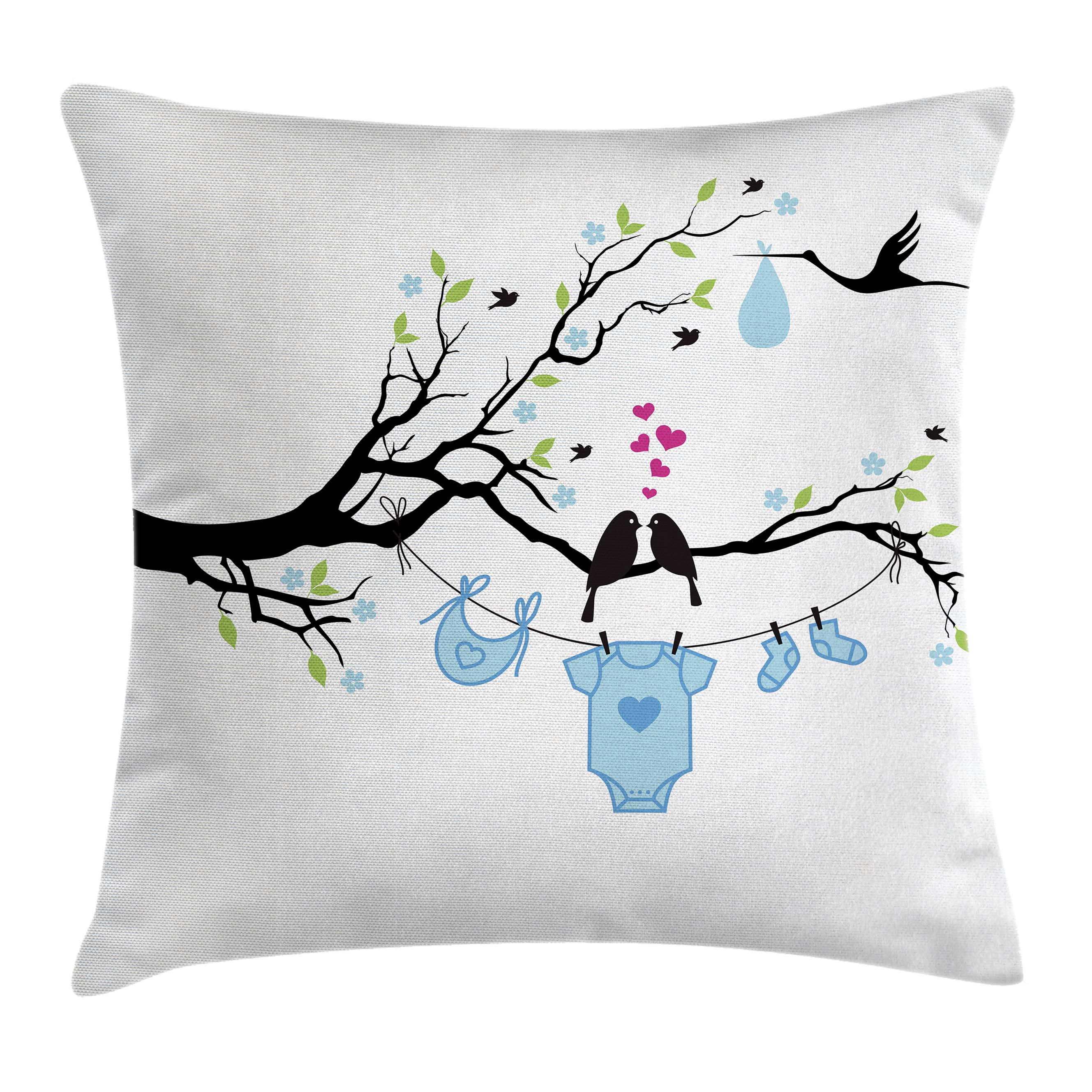 Gender Reveal Decorations Throw Pillow Cushion Cover, Love Birds on Tree and Child Clothes Hanging Design, Decorative Square Accent Pillow Case, 16 X 16 Inches, Lime Light Blue Black, by Ambesonne
