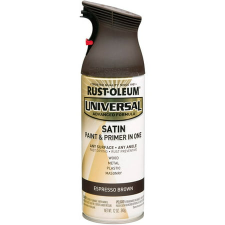 Rust-Oleum Universal All Surface Satin Espresso Brown Spray Paint and Primer in 1, 12 oz (Uv Reactive Spray Paint)
