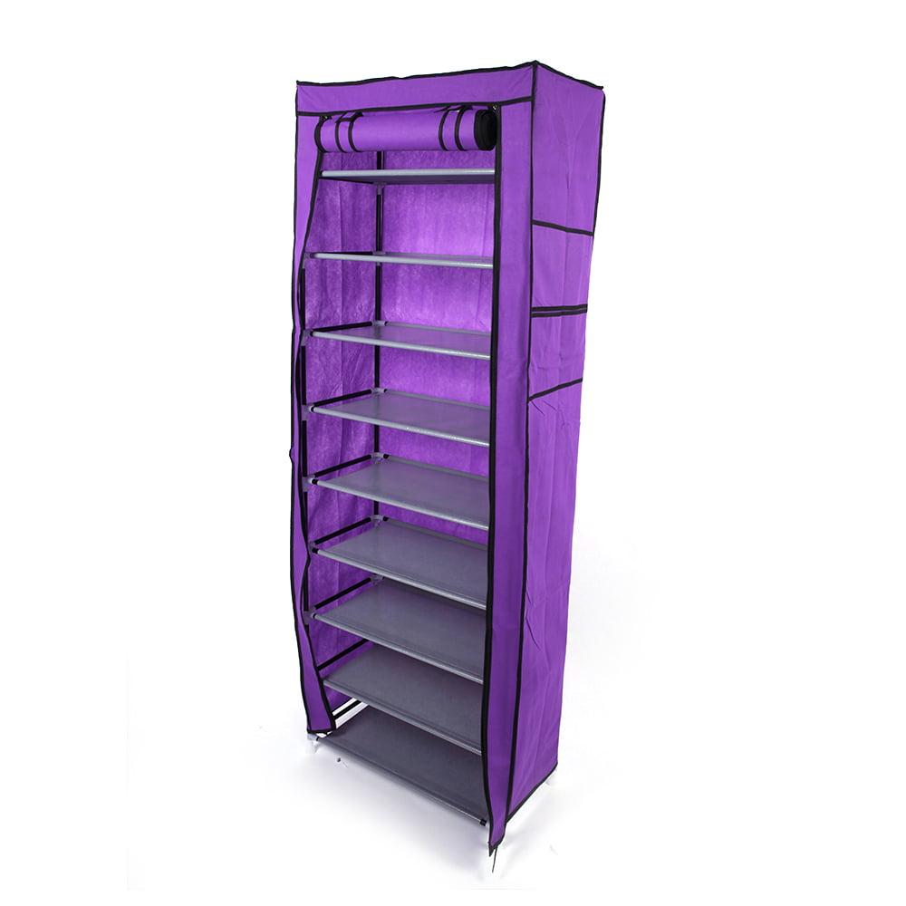 Top Knobs 10 Tiers Shoe Rack with Dustproof Cover Closet Shoe Storage Cabinet Organizer Black