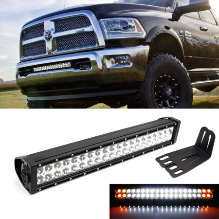 "iJDMTOY 20"" 120W White LED Light Bar w/ Amber LED Strobe & Lower Bumper Grill Mounting Bracket For 2009-2018 Dodge RAM 2500 3500 (Dual-Switch Wiring Harness Included)"