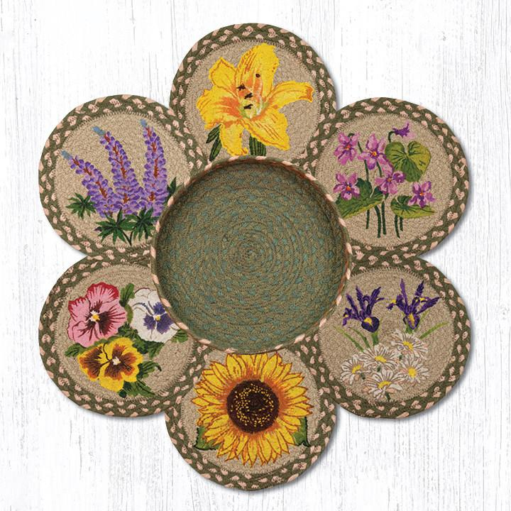 "Earth Rugs TNB-399 Flowers Trivets in a Basket 10""x10"""
