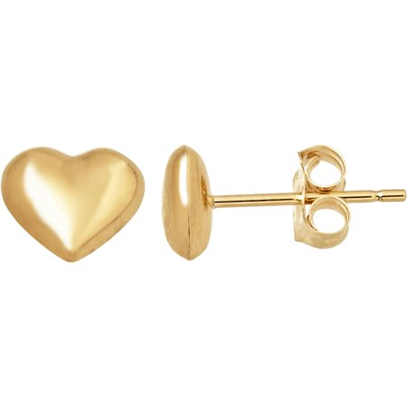 14kt Yellow Gold Tiny Heart Button Stud Earrings