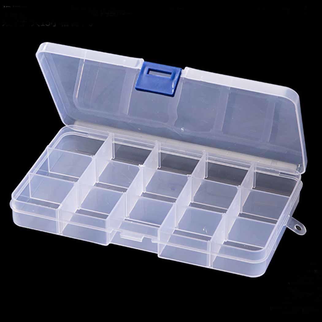 Transparent 15 Slots Organizer Fishing Lure Box Adjustable Plastic Hook Tackle Box Storage Case Organizer Caroj - image 7 de 7