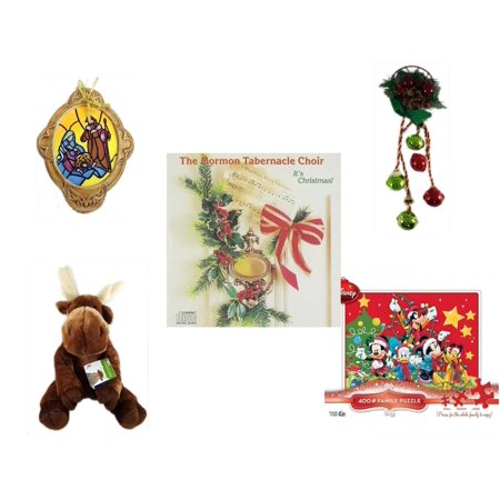 - Christmas Fun Gift Bundle [5 Piece] - Holy Family Nativity Porcelain Ornament - Festive Holly Berry & Pinecone Door Knob Jingler - The Mormon Tabernacle Choir It's  CD - Soft & Cuddly  Moose  14