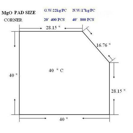 Hearth Pad Dimensions - Tretco Corner Type 2 Thermal Hearth Pad