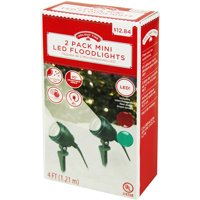 Holiday Time Christmas Mini LED Floodlights 2-Pk