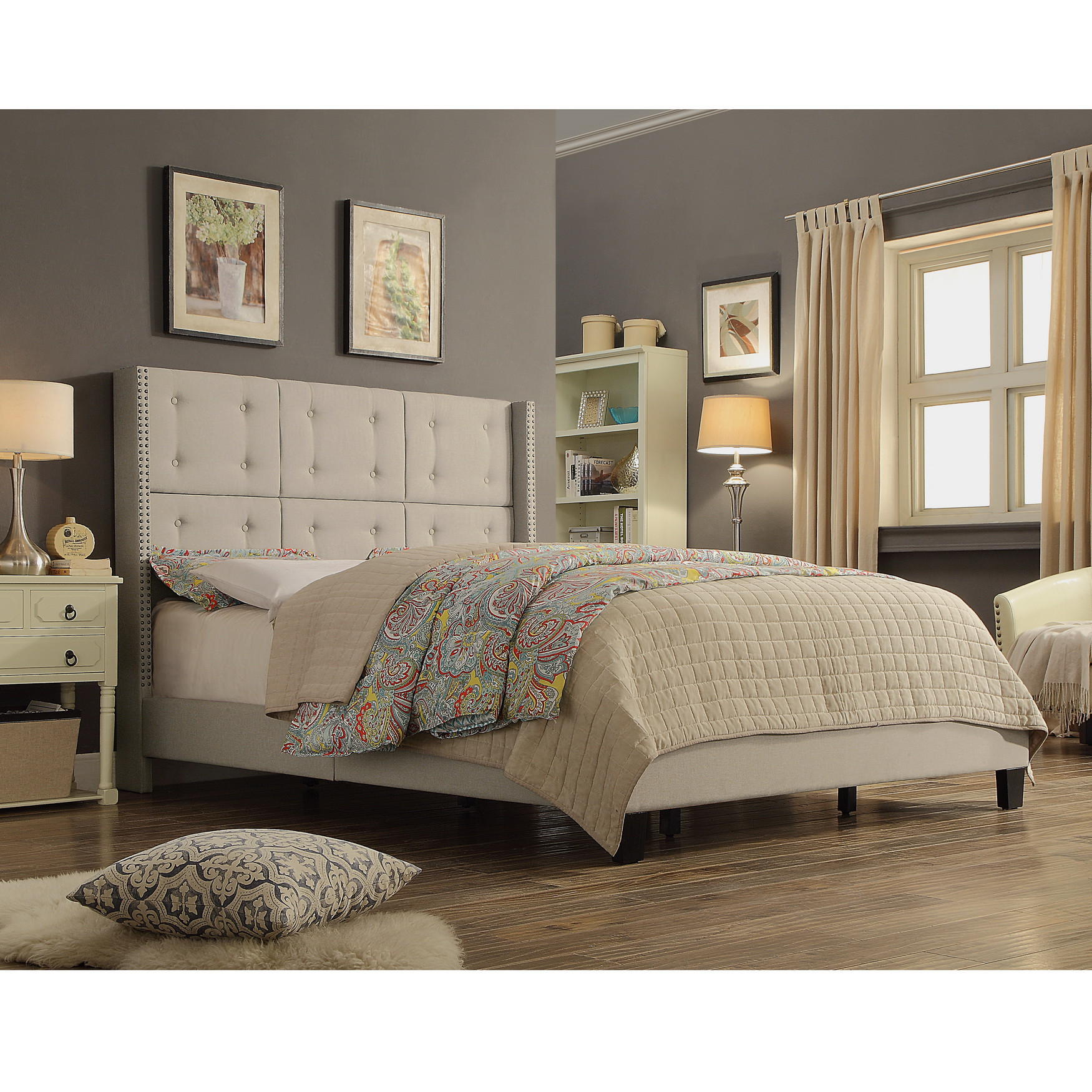 Alton Furniture Ciosa Upholstered Button Tufted Panel Bed With Headboard and Wooden Slats, Multiple Colors/Sizes