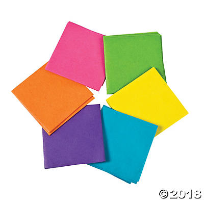 Mini Neon Tissue Paper Squares(pack of 12)