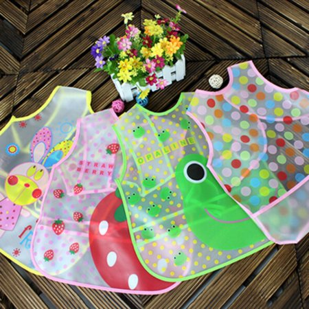 Red Infant Snap Bibs (Bobora Baby Boy Girl Bibs Waterproof Saliva Toddler Kids EVA Cartoon Bib Burp Cloths Gardening Art Smock Apron Feeding)