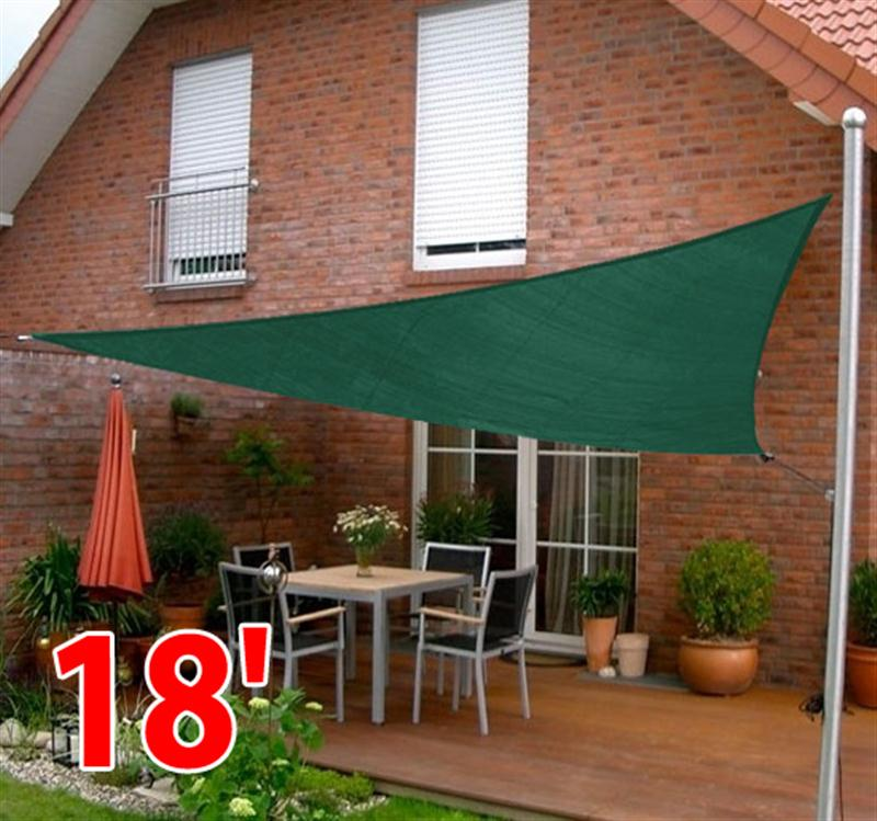 Outsunny 18u0027 Triangle Outdoor Patio Sun Shade Sail Canopy   Green