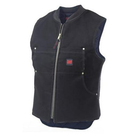 richlu 193716bll tough duck quilt lined black vest, large