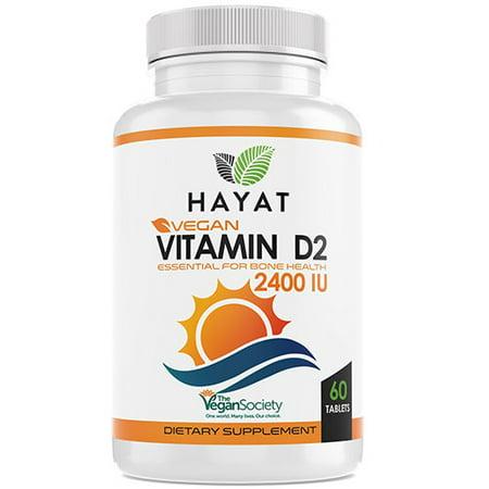 Hayat Vitamins Vegan Natural Vitamin D 2400 IU, D2, 60