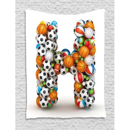 Sports Theme Decor (Letter H Tapestry, Letter H Stacked from Gaming Balls Alphabet of Sports Theme Competition Activity, Wall Hanging for Bedroom Living Room Dorm Decor, 40W X 60L Inches, Multicolor, by)