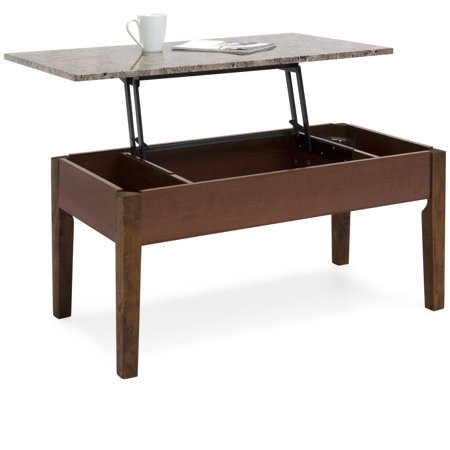 - Best Choice Products Living Room Faux Marble Design Storage Compartment Space Coffee Table Decor w/ Lift Top Mechanism, Wood Veneer Finish - Brown