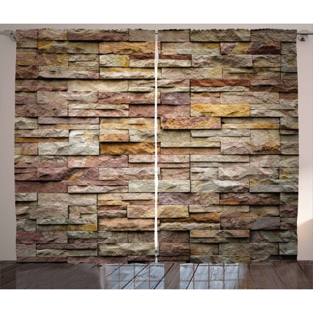 Marble Curtains 2 Panels Set, Urban Brick Slate Stone Wall with Rocks Featured Facade Architecture Town Picture, Window Drapes for Living Room Bedroom, 108W X 90L Inches, Multicolor, by Ambesonne