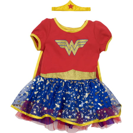 Wonder Woman Toddler Girls' Costume Dress with Gold Tiara Headband and Cape, Red (5T) - Hit Girl Costumes