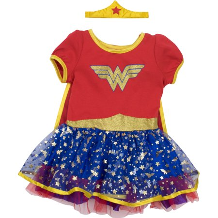 Wonder Woman Toddler Girls' Costume Dress with Gold Tiara Headband and Cape, Red (5T)](Robin Girl Costume Toddler)