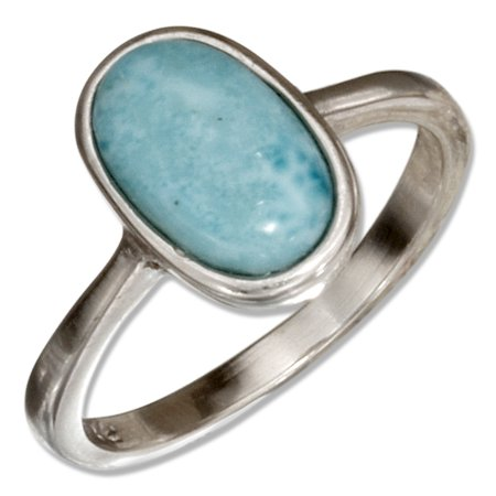 STERLING SILVER SOLITAIRE OVAL LARIMAR RING