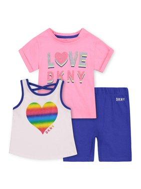 DKNY Toddler Girl Short Sleeve T-shirt, Heart Tank Top & Bike Shorts, 3pc Outfit Set