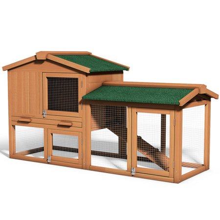 Gymax Wooden Large Bunny Rabbit Hutch Chicken Coop Small Animal Cage House
