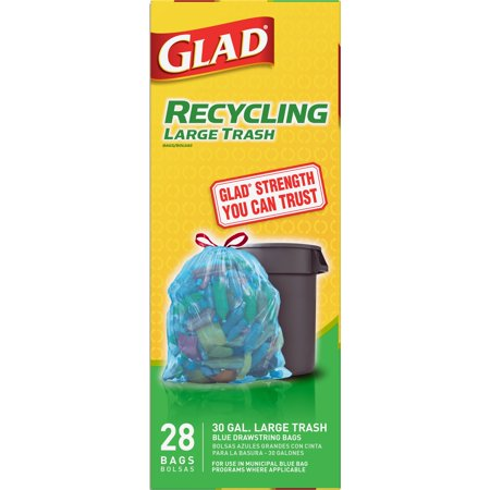 Glad Recycling Large Drawstring Blue Trash Bags - 30 Gallon - 28 ct (Recycle Plastic Bags)