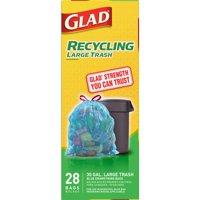 Glad Recycling Large Drawstring Blue Trash Bags - 30 Gallon - 28 ct