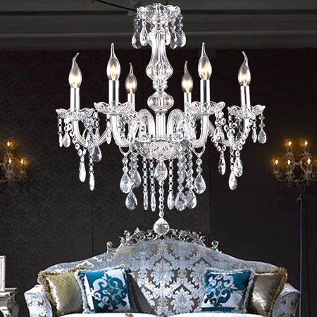 E12 6/8/10 Lights European Style Elegant Crystal Chandelier Ceiling Pendant Light Hanging Lamp For Home Bedroom Hall Restaurant Corridor Balcony Entrance Decoration AC110-240V