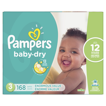 Pampers Baby Dry Diapers Size 3 168 Count + 6 Bonus Cruisers 360 Diapers (Diaper Drawing)