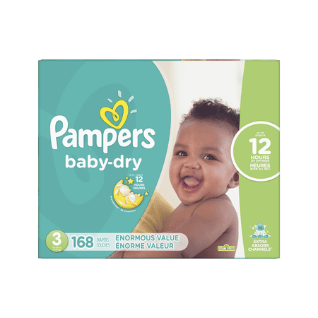 Pampers Baby Dry Diapers Size 3 168 Count + 6 Bonus Cruisers 360