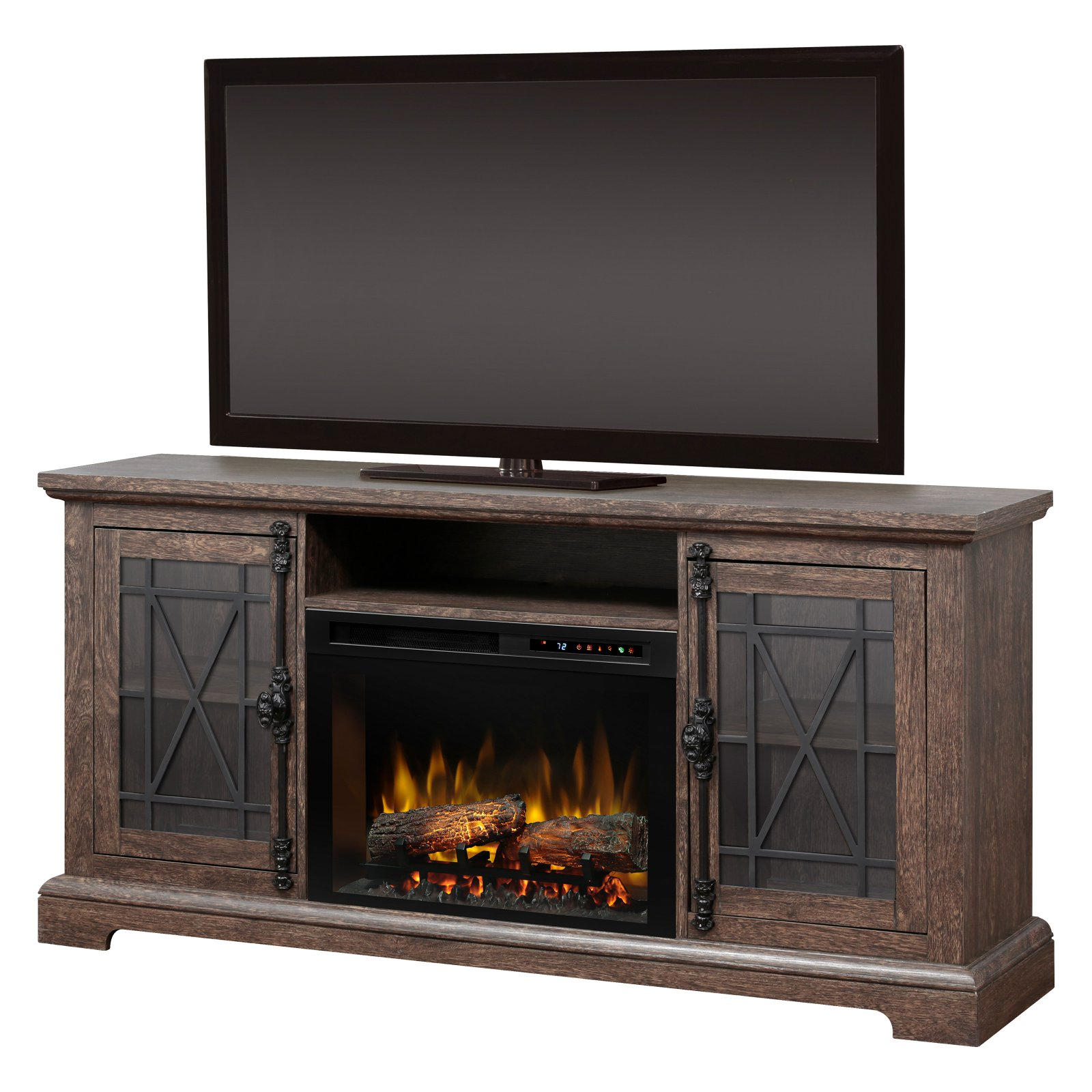 "Dimplex Natalie Media Console Electric Fireplace With Logs for TVs up to 65"", Elm Brown"