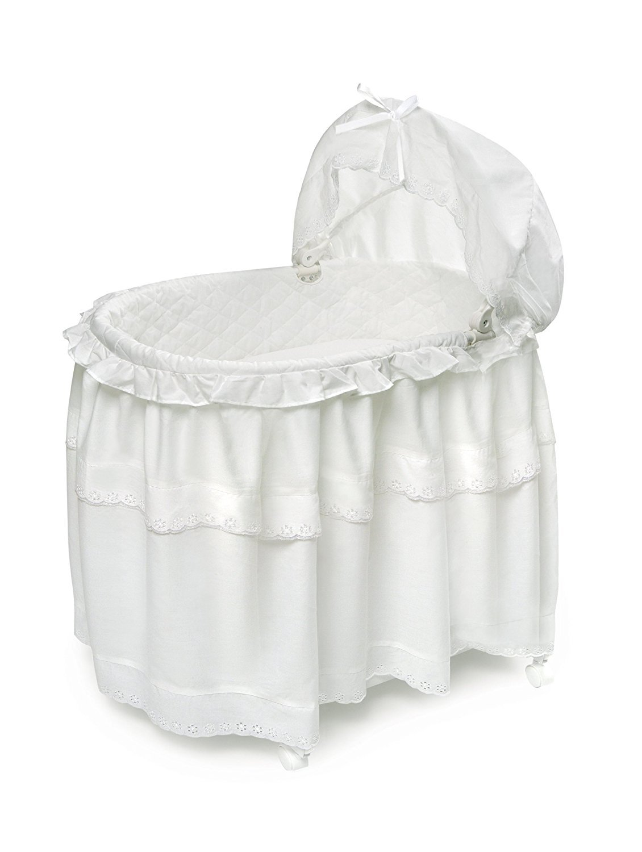 Badger Basket Long Skirt Portable Bassinet 'N Cradle with Toybox Base, White by Badger Basket Company