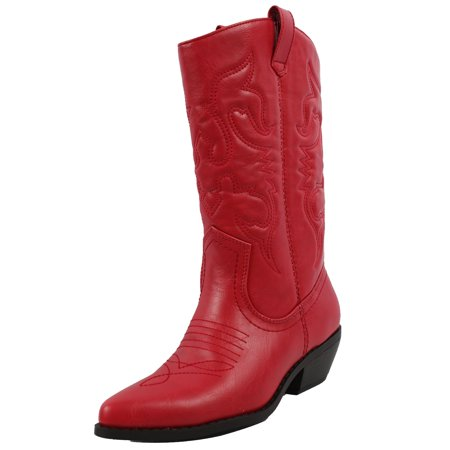 Cowboy Heels (Soda Women's  Western Cowboy Pointed Toe Knee High Pull On Tabs Boots )