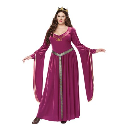 Lady Guinevere Plus Size Costume (Wine)
