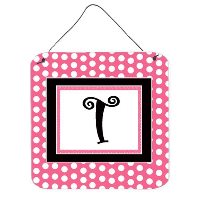 Carolines Treasures CJ1001-TDS66 Letter T Initial - Pink Black Polka Dots Aluminium Metal Wall Or Door Hanging Prints - image 1 of 1