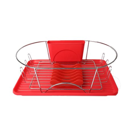Mega Chef 17 Inch Red/Silver Dish Rack ()