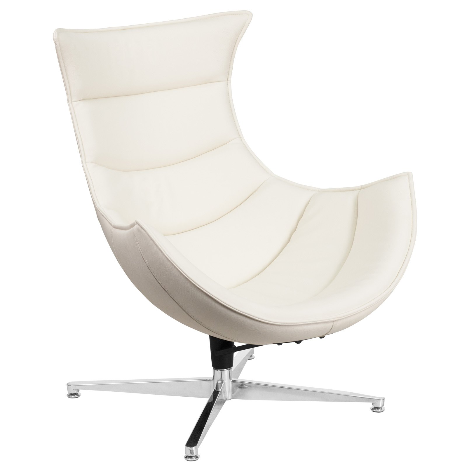 Flash Furniture Leather Swivel Cocoon Chair With Curved
