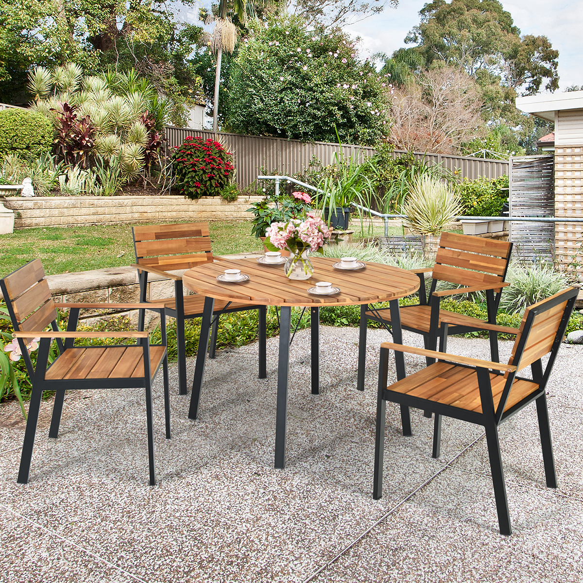 Gymax 9PCS Patio Dining Set Outdoor Dining Furniture Set w ...