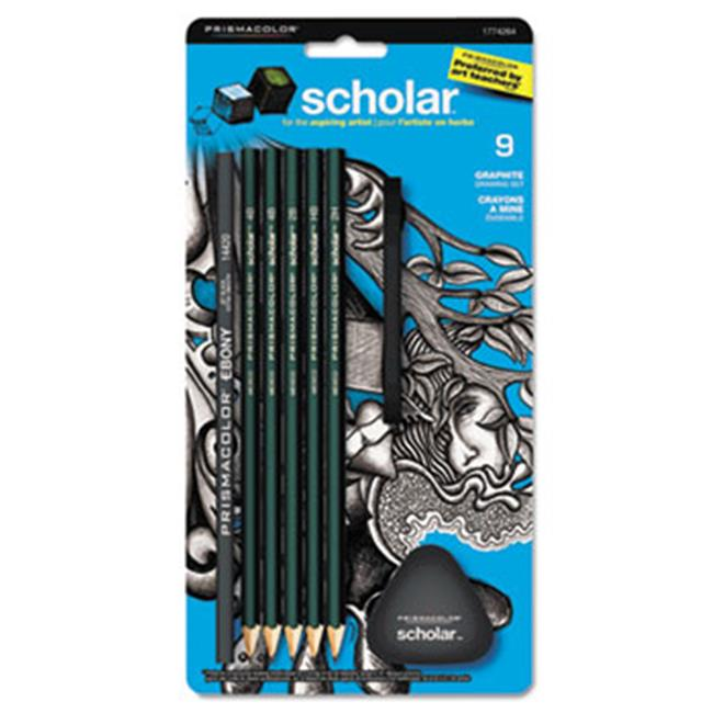 Sanford Ink Company 1774264 Scholar Erasable Colored Pencil Set, Assorted Leads, 2 mm, 9/Set