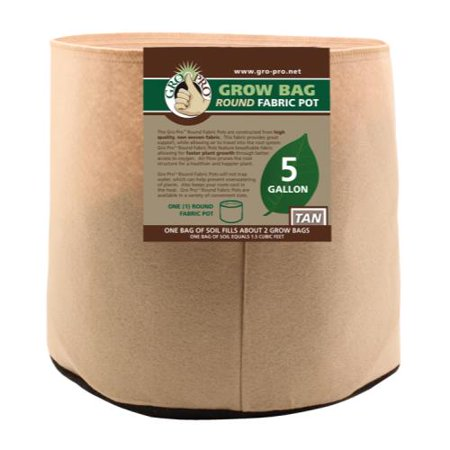 Gro Pro Premium 5 Gallon Round Fabric Pot-Tan (5 Gallon Used Whiskey Barrel For Sale)