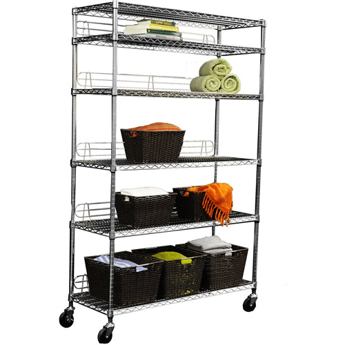 Trinity EcoStorage 6-Tier Wire Shelving Rack with Wheels, Chrome