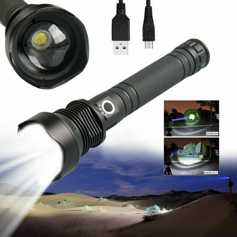 90000Lumens High Power XHP90 Ultra Bright LED Zoom Rechargeable Flashlight Torch